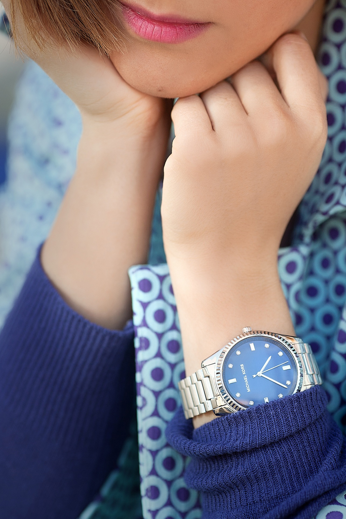 blue michael kors watch on GalantGirl.com