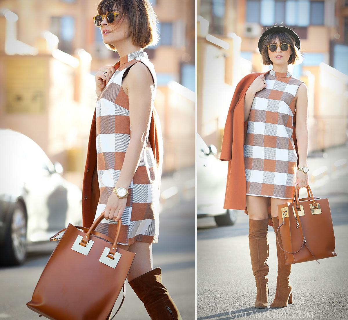 asos shift dress and sophie hulme tote bag