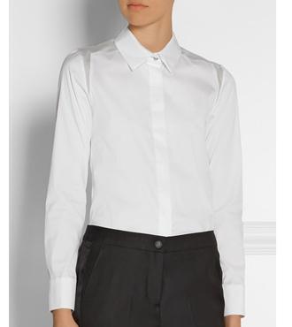 KARL LAGERFELD Reka silk-organza-paneled shirt