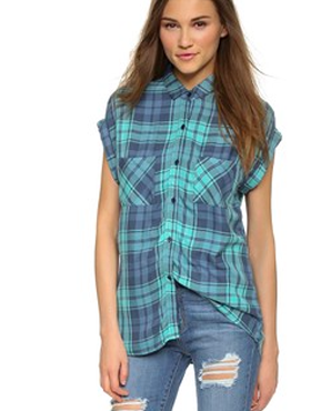 RAILS checked sleeveless shirt