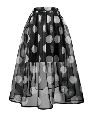 Black Polka Dot Sheer Midi Skirt With Lining