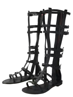 Black Buckle Straps Knee High Flat Gladiator Sandals
