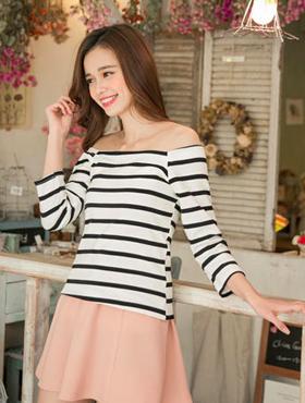 3/4-Sleeve Off-Shoulder Striped Top