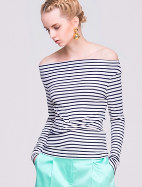 Ruched Off Shoulder T-Shirt in Stripes