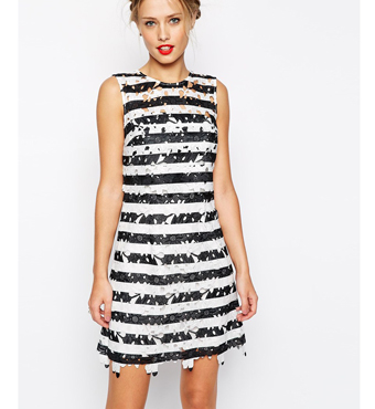ASOS Premium Stripe Crop Top Mini Lace Dress