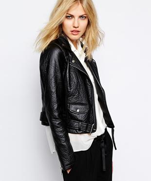Supertrash Belted Biker Jacket in Faux Leather