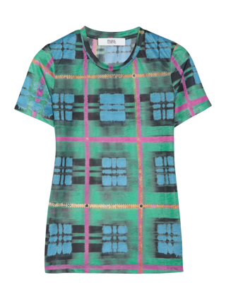 PRABAL GURUNG Plaid-print jersey T-shirt