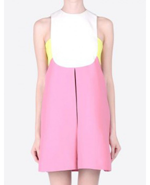 Pink Contrast Sleeveless Slim-cut A-line Dress