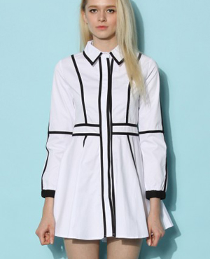 Contrast Paneled White Dress