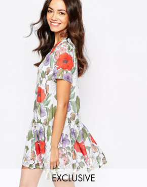 Mod Dolly Drop Waist Dress In Botanical Floral Print
