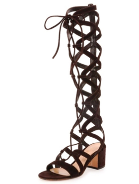 Black Suede Lace-up Knee High Gladiator Sandals
