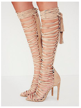 Beige Strappy Knee High Heeled Gladiator Sandals