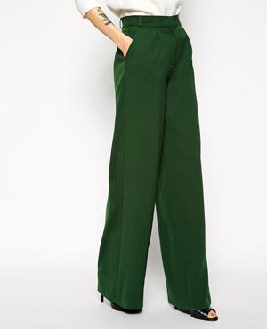 ASOS Premium Wide Leg Crepe Trousers