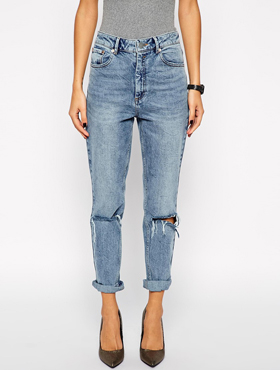 ASOS High Waist Slim Mom Jeans in Vintage Wash with Busted Knees