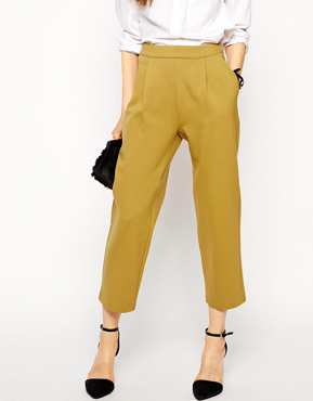 ASOS Premium Bonded Peg Trousers in Mustard