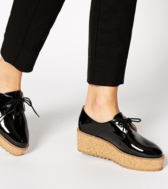Shellys Black Patent Cork Platform Shoes