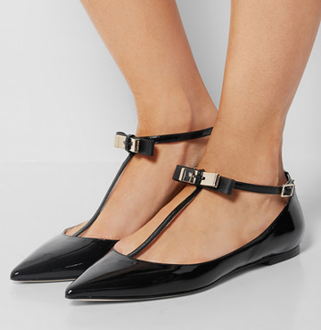 JIMMY CHOO Glaze patent-leather point-toe flats