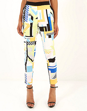 ORANGE SQUARE GEO PRINT CIGARETTE PANTS