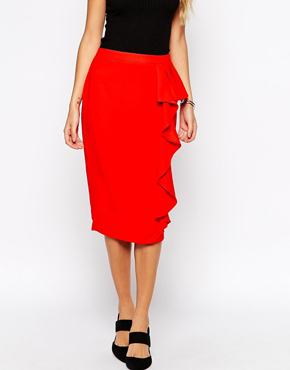 ASOS Pencil Skirt with Waterfall Frill Detail