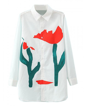 White Pointed Collar Tulip Print Long Sleeve Shirt