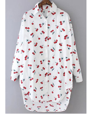 White Lapel Cherry Print Dip Hem Loose Blouse