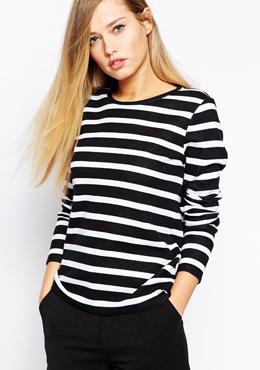 Whistles Bonded T-Shirt in Stripe
