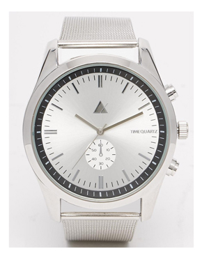 ASOS Watch With Mesh Strap in Silver
