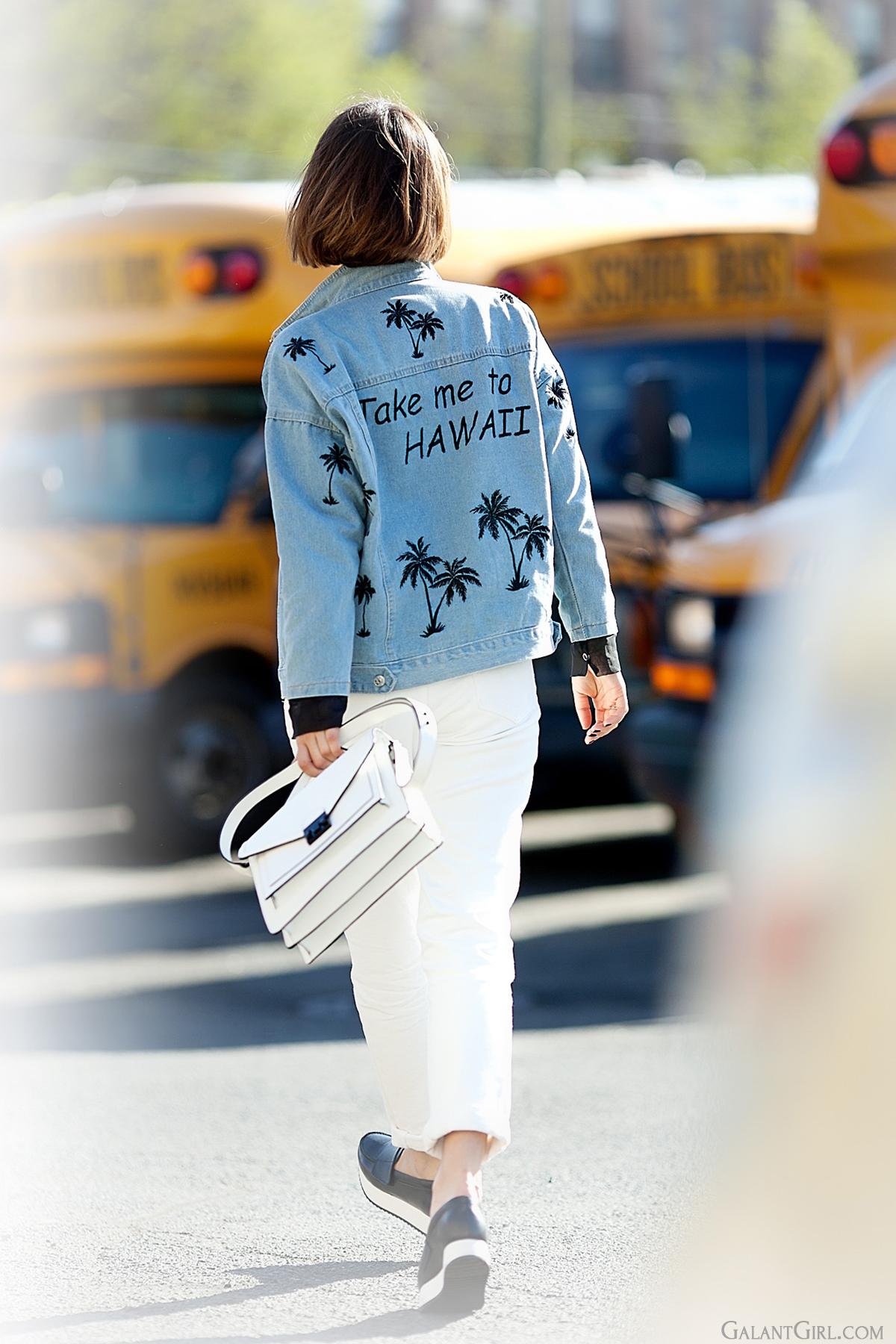 take me to Hawaii denim jacket, Heart Beats Vintage denim Jacket, street style fashion, street style blog on GalantGirl.com