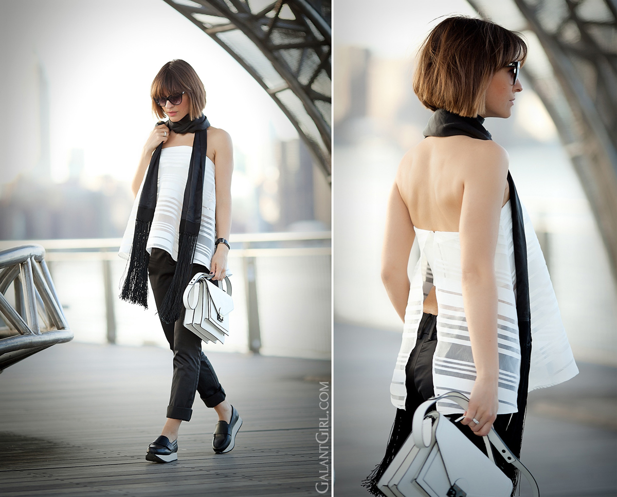 bustier top outfit, galant girl, street style fashion, loeffler randall bag, fashion blogger, fashion blog,