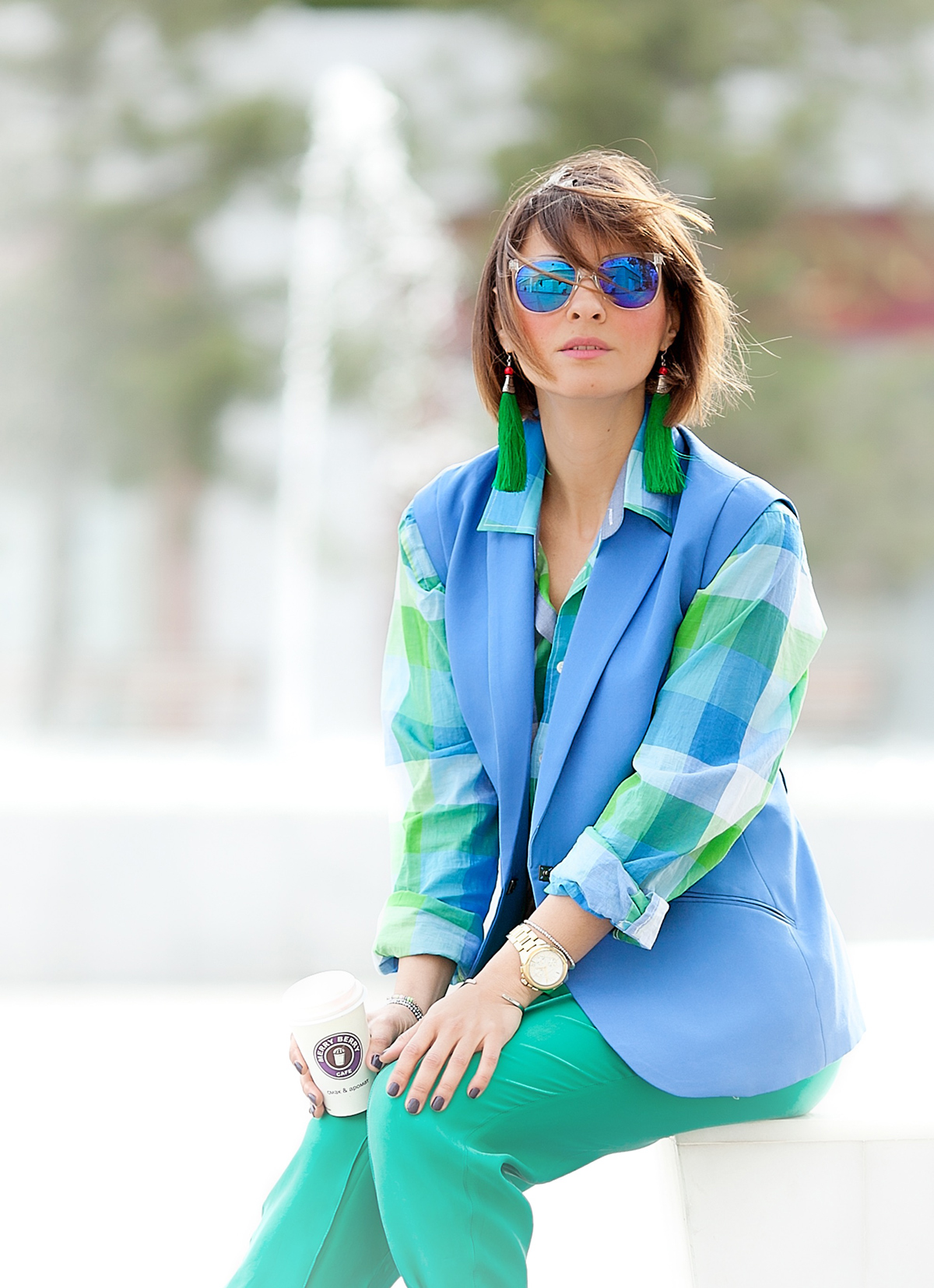 vest blazer and checked shirt outfit in colorblock style on GalantGirl.com