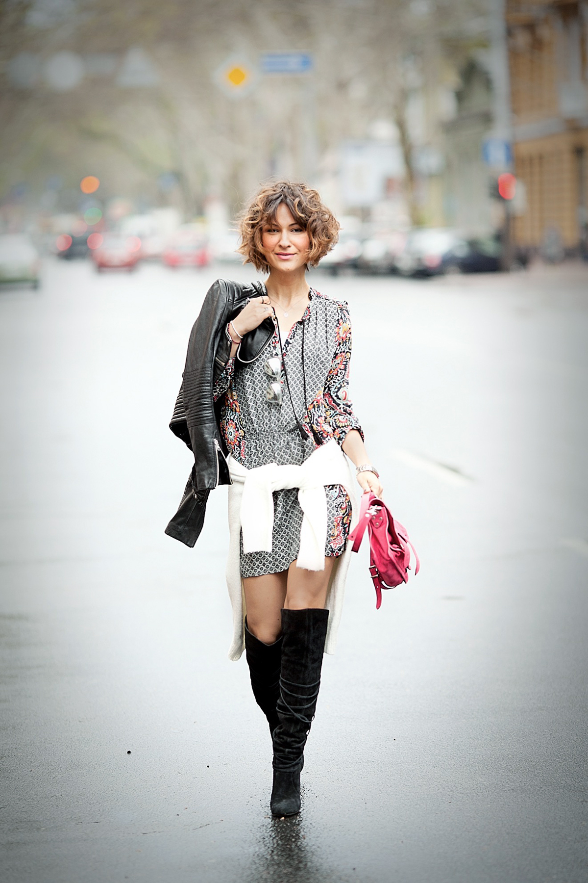 cute dress outfit with high boots and bikers jacket on street style blogger GalantGirl.com