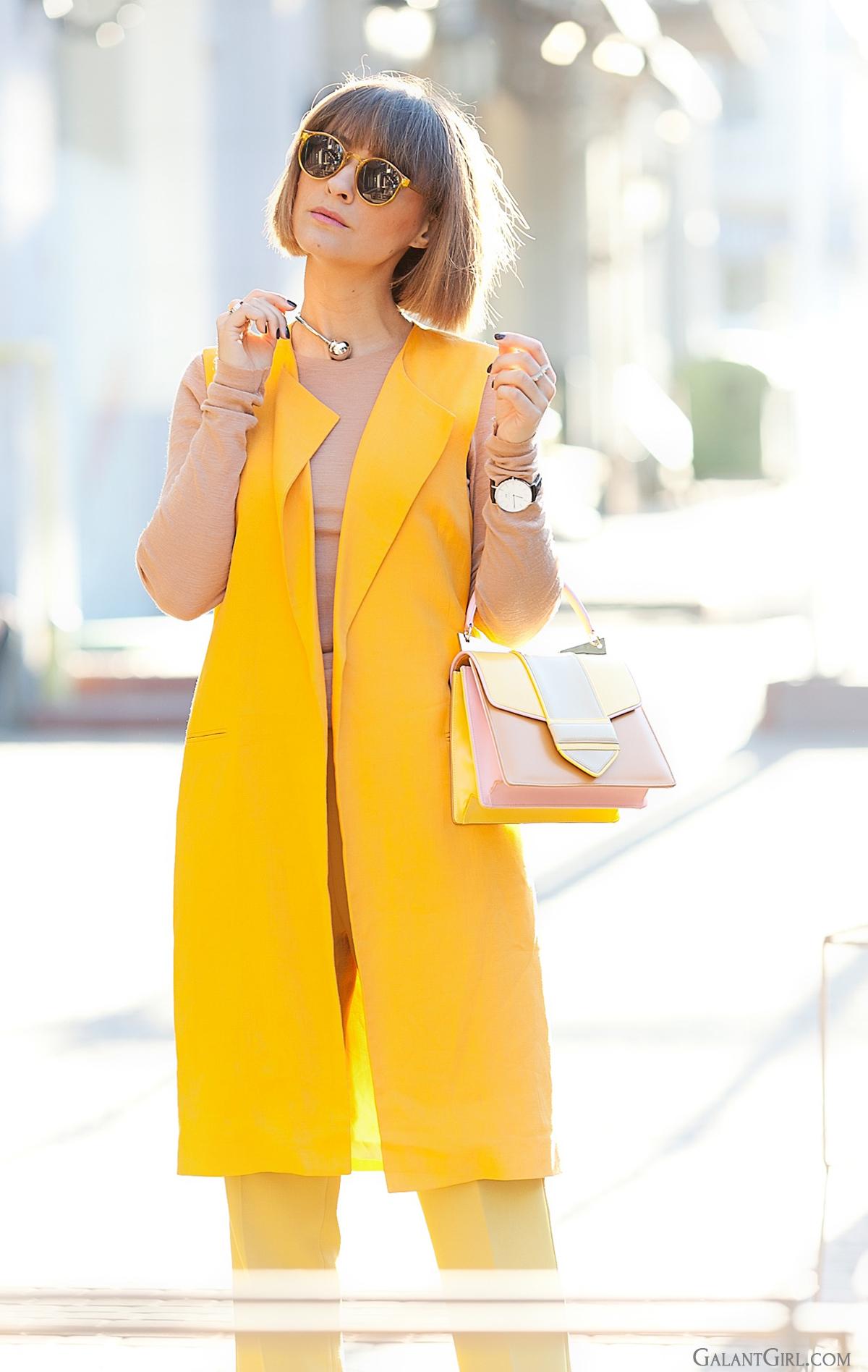 zara orange vest and sara battaglia bag, spring outfit, fashion trends 2015, galant girl