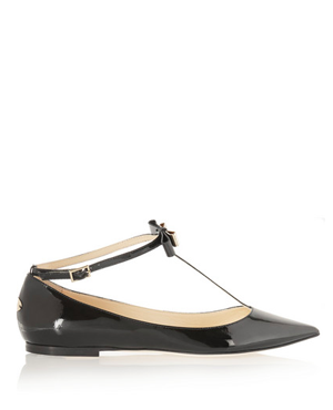 JIMMY CHOO Glaze patent-leather point-toe flats