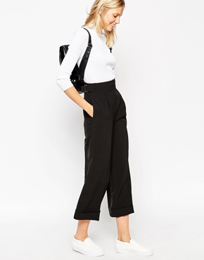ASOS Midi Flare Trouser with Turnup