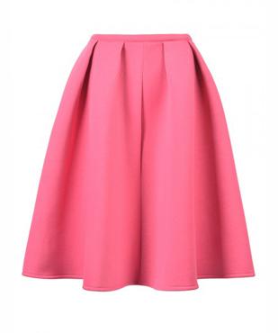 Pink Sliky Midi Skater Skirt
