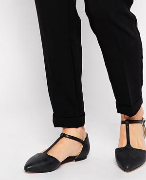 London Rebel T-Bar Point Flat Shoes