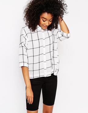 ASOS Crinkle Oversize Mono Check Shirt