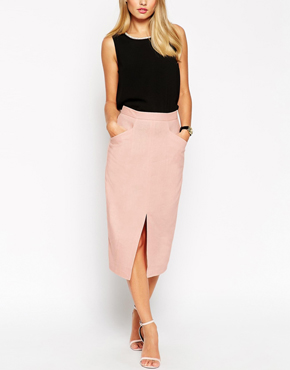 ASOS Linen Split Front Pencil Skirt