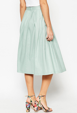 ASOS Pleated Midi Linen Skirt