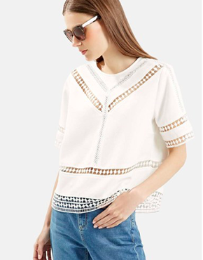 Topshop Crochet Trim Shirt