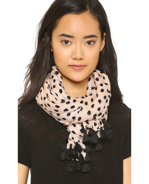 Kate Spade New York Leopard Dot Pom Pom Scarf