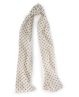 POLKA-DOT SILK GEORGETTE SCARF