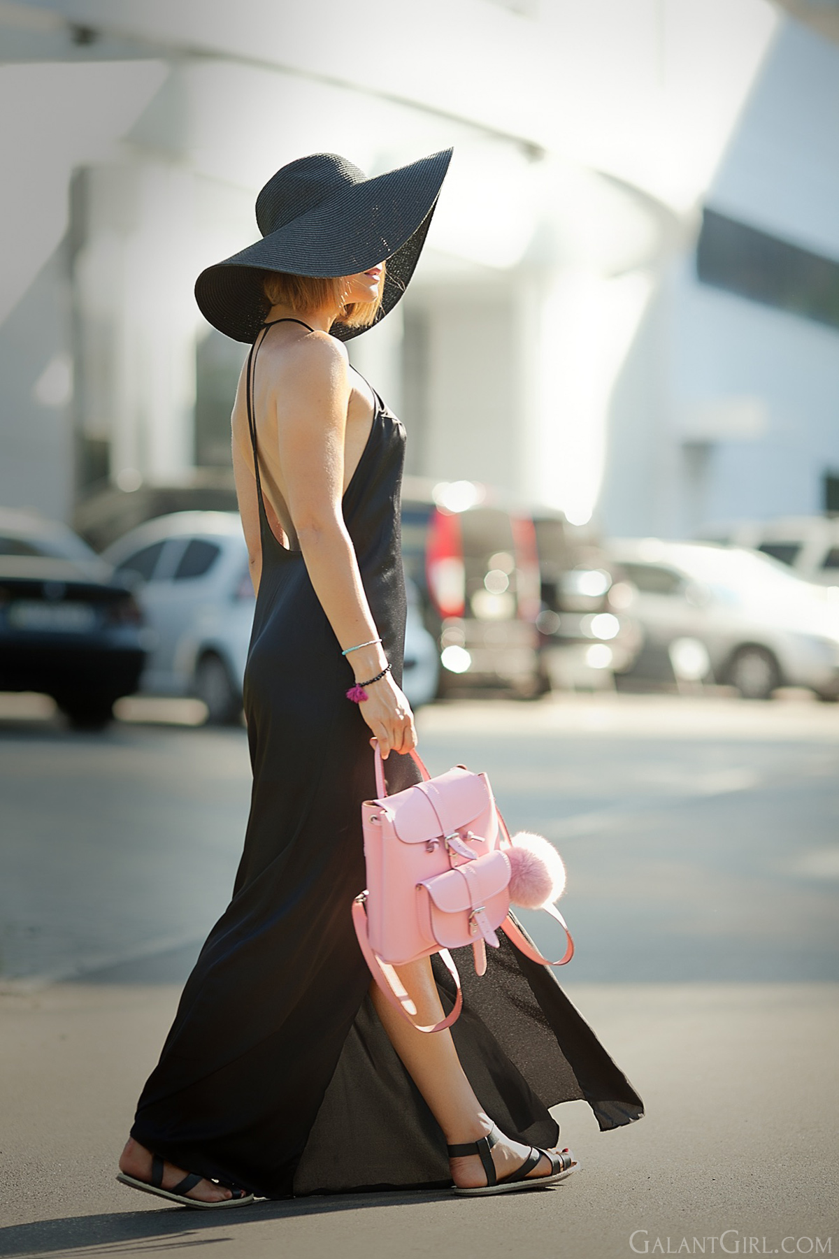 black-maxi-dress-nastygal-floppy-straw-hat-pink-grafea-backpack
