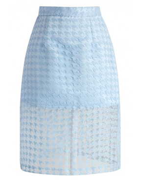 Sheer Houndstooth Pencil Skirt in Blue