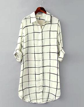 Long-Sleeve Check Shirt Dress