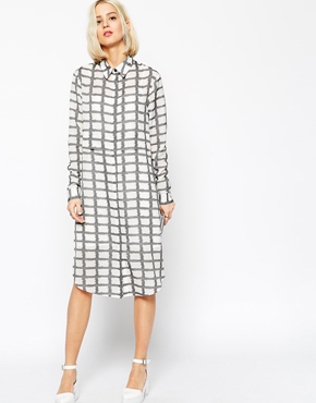 ASOS WHITE Checked Shirt Dress