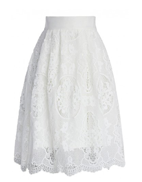 Pure White Crochet Midi Skirt