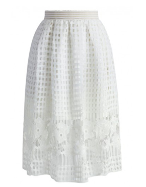 Flair White Crochet Lace Skirt