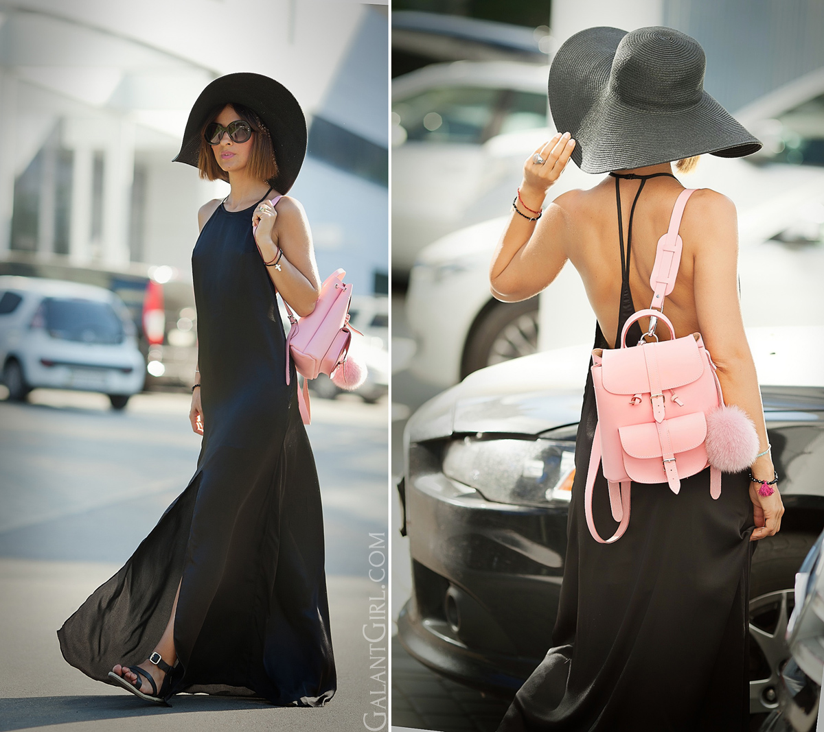 long-summer-black-dress-nastygal-and-straw-floppy-hat-boho-chic-style
