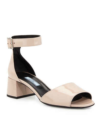 Prada Patent Mid-Heel Sandal, Cipria
